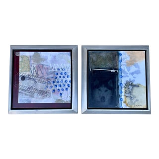 Set of 2 Mixed Media, Framed & Signed For Sale