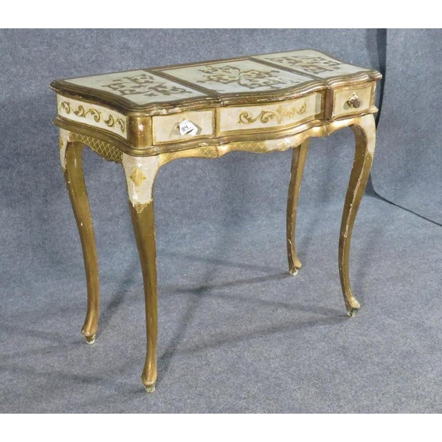 Italian Florentine Italian Gilded Gold Leaf Ladies Mirrored Vanity Makeup Table C1920 For Sale - Image 3 of 10