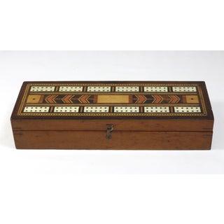 19th Century Victorian Inlay Mahogany Cribbage Board Game Box Preview