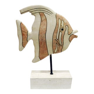Maitland-Smith Tessellated Stone Angelfish Sculpture For Sale