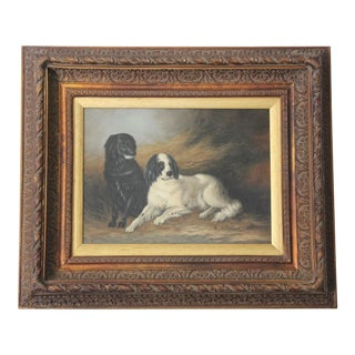Antique Oil on Canvas Painting of Two Dog Portrait by ''R.Robinson'' in a Large Frame.
