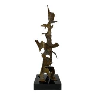 1966 Brutalist Sculpture on Black Lucite Signed George Kafka For Sale