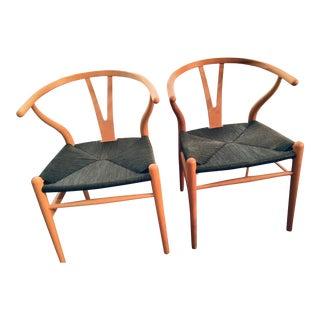 1970s Vintage Original Hans Wegner Ch-24 Wishbone Chairs - a Pair For Sale
