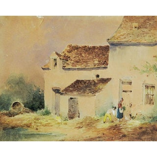 Miniature Rustic Watercolor Painting For Sale