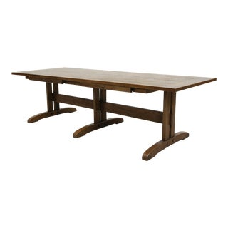 Vintage Mission Arts & Crafts Style Trestle Base Oak Coffee Table For Sale