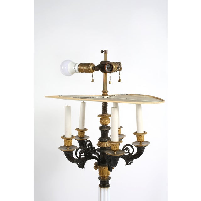 Metal Gilt Bronze / Art Glass Candelabras Lamp - a Pair For Sale - Image 7 of 12