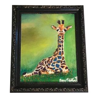 """""""Giraffe"""" Original Oil Painting in Black Frame For Sale"""