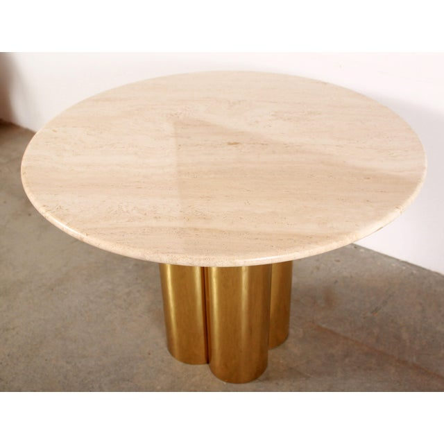 Mid Century Modern Mastercraft Polished Brass Quatrefoil & Travertine Dining or Game Table For Sale In Providence - Image 6 of 11