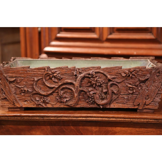 Late 19th Century 19th Century French Black Forest Carved Walnut Jardiniere With Zinc Liner For Sale - Image 5 of 9