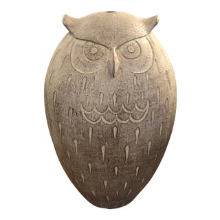 1970s Vintage Abstract Terracotta Owl Sculpture For Sale