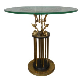 Vintage Hollywood Regency Brass Coy Fish Accent Table For Sale