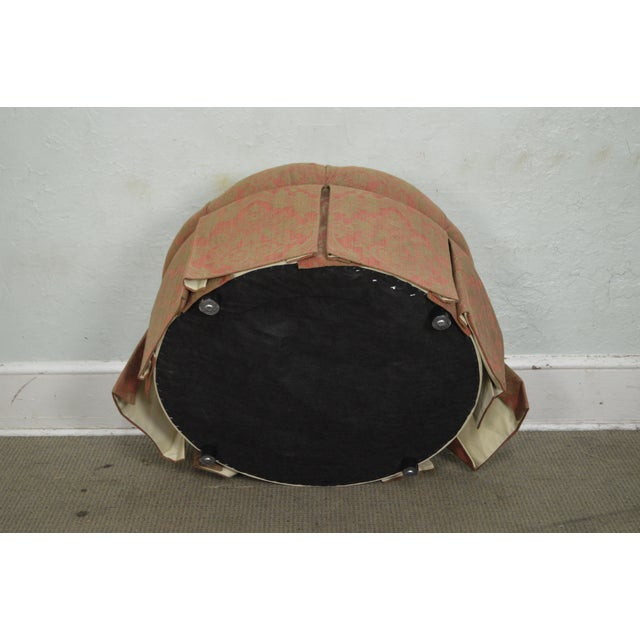 Custom Upholstered Round Tufted Ottoman For Sale - Image 9 of 11