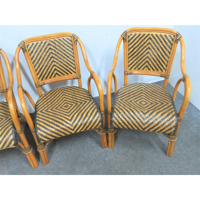 Mid 20th Century Mid Century Rattan Basket Weave Arm Chairs- Set or 4 For Sale - Image 5 of 7