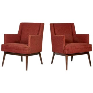 Jens Risom Style Walnut Frame Lounge Chairs - A Pair