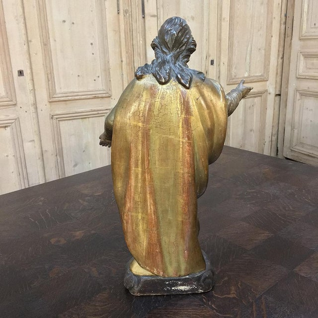 Mediterranean 19th Century Giltwood Polychrome Statue of Madonna For Sale - Image 3 of 12