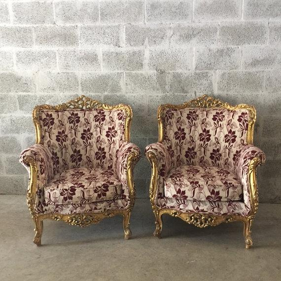 Add an opulent touch with these Italian Baroque-style chairs. This unique pair has the original gold gilt, and have been...