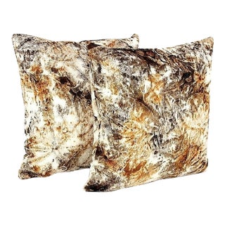 Texture Velvet Fur Pony Pillow- a Pair For Sale
