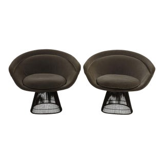 Warren Platner for Knoll Bronze Lounge Chairs- A Pair For Sale