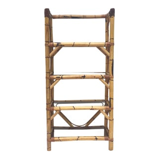 Boho Modern Bamboo Bookcase For Sale
