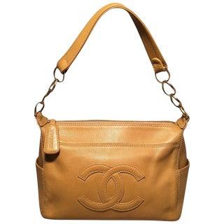 Chanel Tan Caviar CC Shoulder Bag For Sale