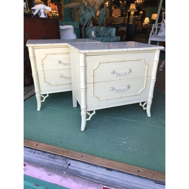 Vintage Dixie Faux Bamboo Fretwork Nightstands-A Pair For Sale - Image 11 of 12
