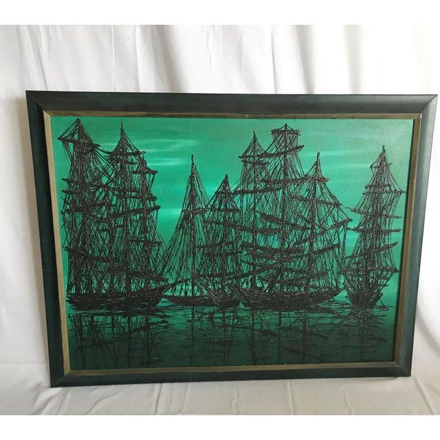 Black Mid Century Modern 1960's Lee Reynolds Style Van Guard Studios Ships Drip Art Oil Painting For Sale - Image 8 of 8
