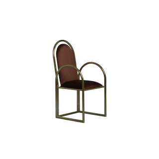 New Arco Dining Armchair in Gold Metal & Red Velvet by Houtique & Masquespacio For Sale