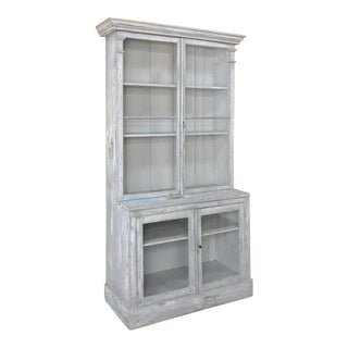 Antique Swedish Scraped Painted Bookcase For Sale