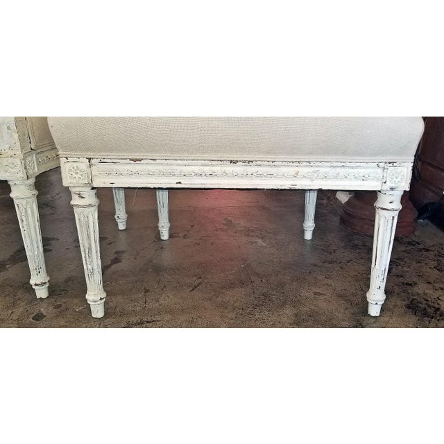 Louis XVI Style Pair of Painted Armchairs For Sale In Dallas - Image 6 of 12