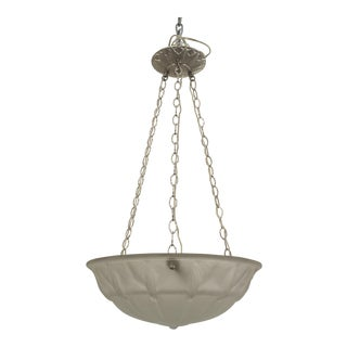French Art Deco (Circa 1925) Round Pendant Form Frosted Glass Bowl Form Chandeliers For Sale