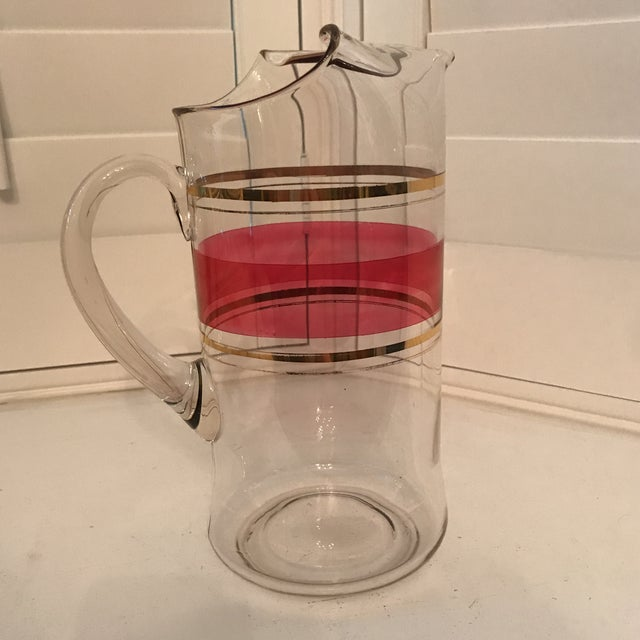 Tall Cranberry and Gold Stripe Glass Pitcher For Sale - Image 4 of 8