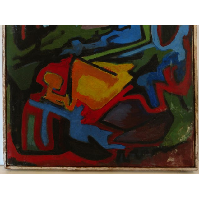 Edgar W. Johnson Mid-Century Abstract Painting For Sale - Image 4 of 8