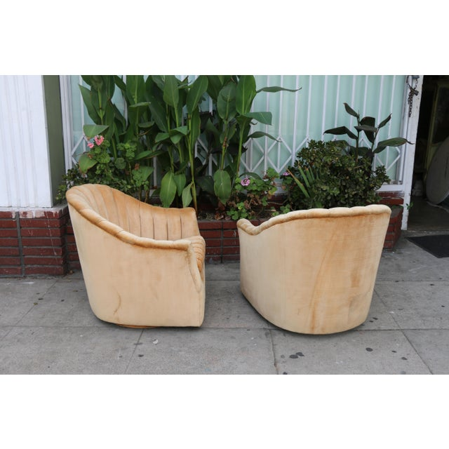 Velvet Swivel Chairs - A Pair For Sale - Image 9 of 11