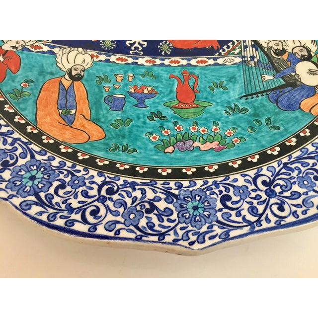 Ceramic Large Turkish Ottoman Scene Polychrome Hand Painted Ceramic Plate Kutahya For Sale - Image 7 of 12