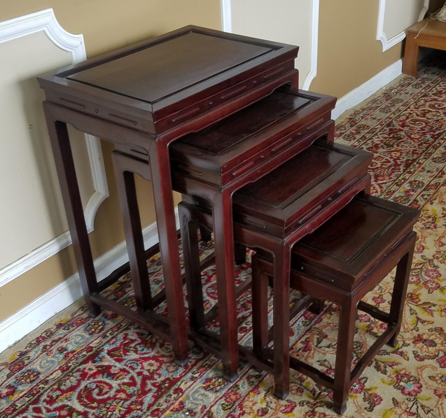 Description: This Is A Set Of 4 Late 20th Century Asian Teak Chinese Style  Stacking