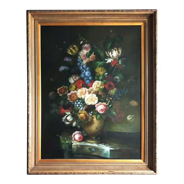 Late 20th Century Nancy Lee Floral Still Life Oil on Canvas Painting For Sale