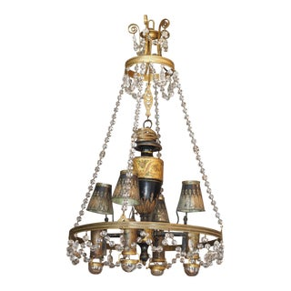 18th Century French Tole and Crystal Chandelier For Sale