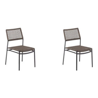 Outdoor Side Chair, Carbon and Mocha (Set of 2) For Sale