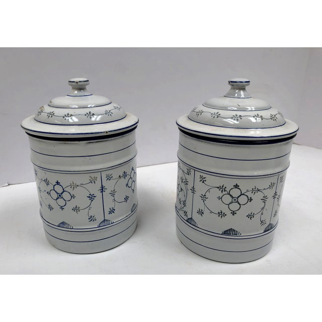 Blue Vintage French Country Enamel Canister Set - Set of 6 For Sale - Image 8 of 13