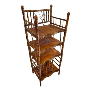 Tortoised French Bamboo Etagere For Sale