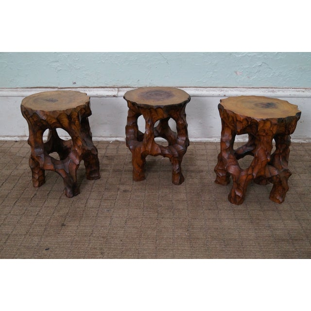 Mid Century Small Tree Stump Carved End Tables - Image 3 of 10