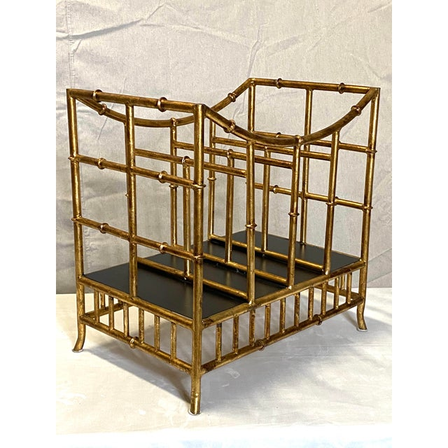 Gold Beautiful Vintage Gilt Gold Canterbury Magazine Rack Stand Asian Style Fabulous For Sale - Image 8 of 8