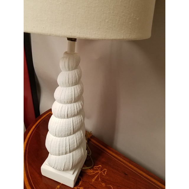 Sirmos Company Sirmos Mid-Century Coastal Chic Plaster Auger Shell Table Lamp For Sale - Image 4 of 6