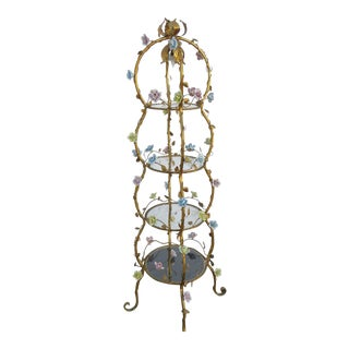 Italian Florentine Tole Gold Gilt Etagere With Porcelain Roses For Sale