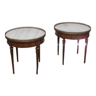 Louis XV Jansen Style Marble Top Wooden End Tables - a Pair
