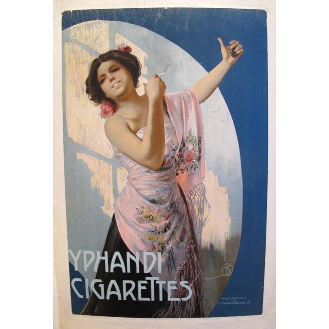 1900/1920 Original Belgian Art Nouveau Poster, Yphandi Cigarettes For Sale - Image 6 of 6