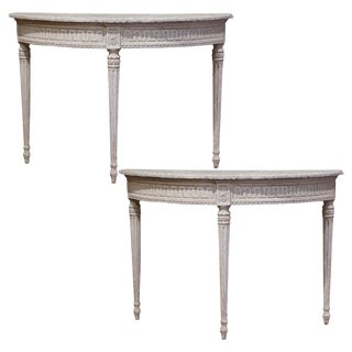 19th Century French Louis XVI Carved Painted Demilune Console Tables-a Pair For Sale