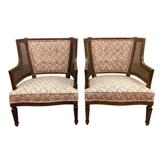 Vintage Cane Wing Chairs - a Pair For Sale
