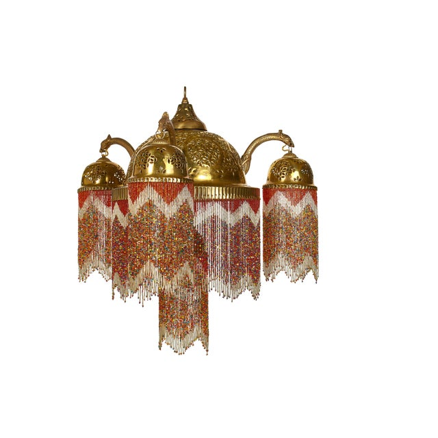 Amazing And Colorful Chandelier The Multi Color Beads Shiny Brass Really Give This Antique