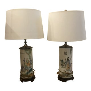 Early 20th Century Chinese Export Porcelain Wig Stand Lamps - a Pair For Sale